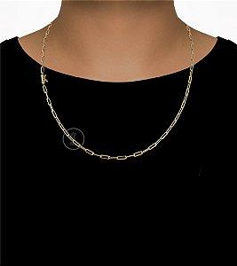 Corrente Cadeado Cartie Longo - Fecho Canhão (3,5MM) - 60cm - 10g - Banhado a ouro 18k