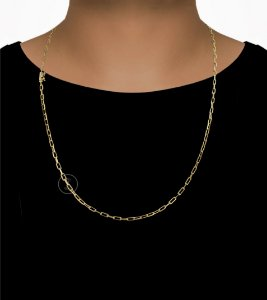Corrente Cadeado Cartie Longo - Fecho Canhão (3MM) - 70cm - 8g - Banhado a ouro 18k