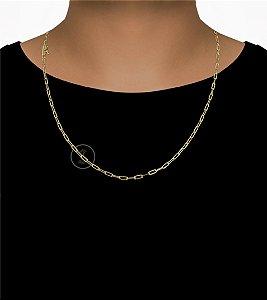 Corrente Cadeado Cartie Longo - Fecho Canhão (3MM) -60cm - 7g - Banhado a ouro 18k