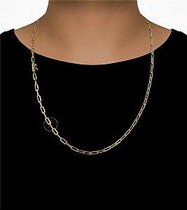 Corrente Cadeado Cartie Longo - Fecho Canhão (4MM) - 70cm - 18g - Banhado a ouro 18k