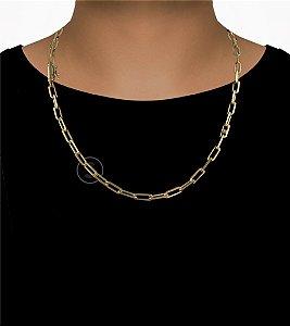 Corrente Cadeado Cartie Longo - Fecho Canhão (6MM) - 60cm - 28g - Banhado a ouro 18k