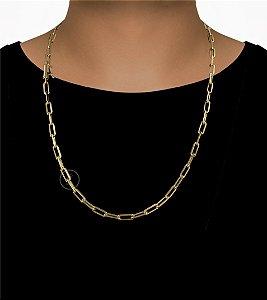 Corrente Cadeado Cartie Longo - Fecho Canhão (6MM) - 70cm - 32g - Banhado a ouro 18k