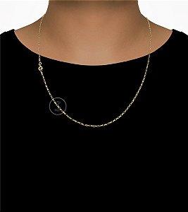 Corrente Cadeado Cartie - Fecho Boia (1MM) -60cm - 3g - Banhado a ouro 18k