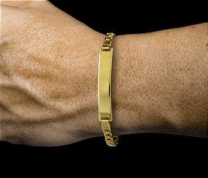 Pulseira Chapa Canelada - Fecho Mosquetão (0,7 MM ) 19cm - 5,7g - Banhado a ouro 18k