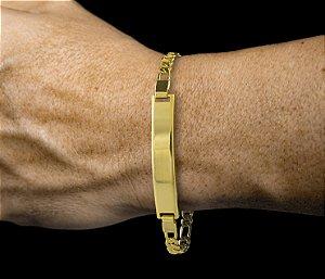 Pulseira Chapa Canelada - Fecho Mosquetão (0,7 MM ) 19cm - 5,8g - Banhado a ouro 18k