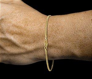 Pulseira Grumet - Fecho Mosquetão (0.2 MM ) 21cm - 2,1g - Banhado a ouro 18k