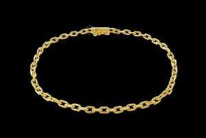 Pulseira Cadeado Cartie Elo Curto - Fecho Canhão (3 MM ) 21cm - 3,83g - Banhado a ouro 18k