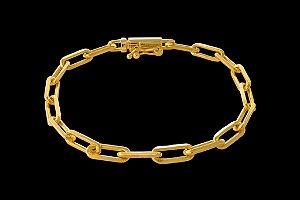 Pulseira Cadeado Cartie Elo Longo - Fecho Canhão (6 MM ) 21cm - 11,4g - Banhado a ouro 18k