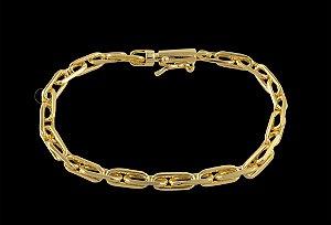 Pulseira Cadeado Cartie Elo Longo - Fecho Canhão (4 MM ) 21cm - 6,05g - Banhado a ouro 18k