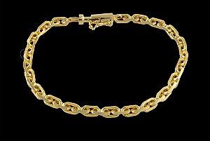 Pulseira Cadeado Cartie Elo Curto - Fecho Canhão (4 MM ) 21cm - 6,54g - Banhado a ouro 18k