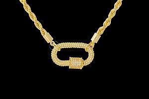 Conjunto Corrente Baiana + Pingente Oval Cravejado com Zircônias (3mm) - 45cm - 24g - Banhado a ouro 18k