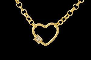 Conjunto Corrente Elo Português + Pingente Coração Cravejado com Zircônias (5mm) - 45cm - 14g - Banhado a ouro 18k