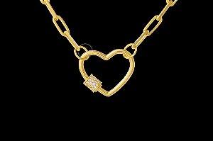 Conjunto Corrente Cartie Elo Curto + Pingente Coração com Zircônias (4mm) - 45cm - 13g - Banhado a ouro 18k