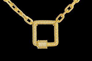 Conjunto Corrente Cartie Elo Longo + Pingente quadrado Cravejado com Zircônias (5mm) - 45cm - 27g - Banhado a ouro 18k