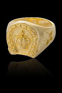 Anel Ferradura com Coroa - Numeração 20,22,24,26,28 e 30 - Banhado a ouro 18k