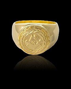 Anel Maçonaria Redondo - Numeração 20,22,24,26,28 e 30 - Banhado a ouro 18k