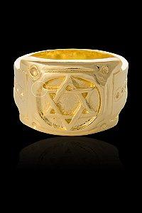 Anel Estrela de Davi - Numeração 20,22,24,26,28 e 30 - Banhado a ouro 18k
