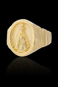 Anel Nossa Senhora Alto Relevo Oval - Numeração 20,22,24,26,28 e 30 - Banhado a ouro 18k