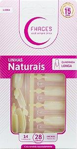 Unhas Fhaces Natural Quadrada Longa - 28 unhas