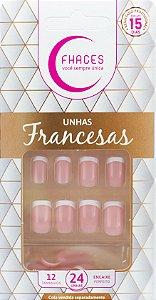 Unhas Fhaces Francesa Rosa - 24 unhas