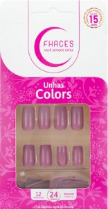 Unhas Fhaces Colors Rosa Flash - 24 unhas