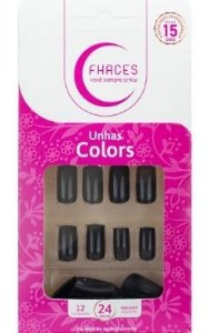 Unhas Fhaces Colors Universo Black - 24 unhas