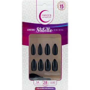 Unhas Fhaces STILETTO Colors Universo Black - 28 unhas