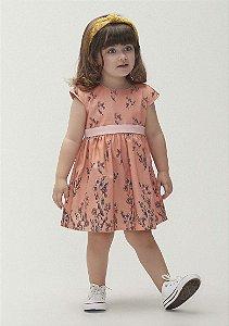 Vestido Manga Curta Em Tecido De Algodão E Elastano Toddler - Rosa