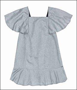 Vestido Infantil Metalizado - Cinza