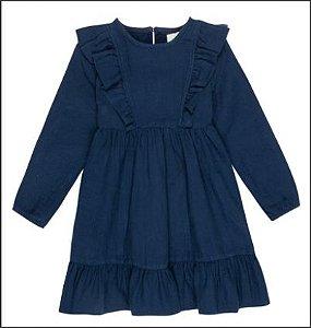 Vestido Manga Longa Em Tecido Com Babados - Azul