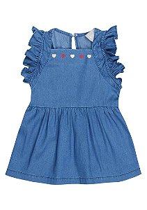 Vestido Jeans Infantil Menina Com Babado Toddler Hering Kids - Azul