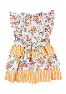 Vestido Infantil Com Renda - Amarelo