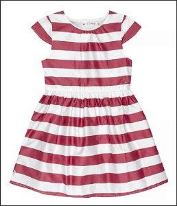 Vestido Infantil Em Tecido Acetinado Com Forro - Rosa