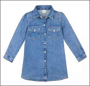 Vestido Infantil Em Jeans Super Elastano - Azul