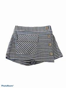 Shorts Saia Menina Em tecido De Algodão - listrado
