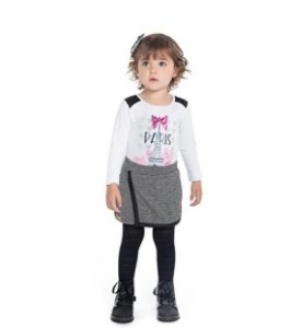 Conjunto Paytê Infantil Menina Paris Branco