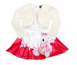 Vestido Paytê Infantil Menina Ursinho Bege
