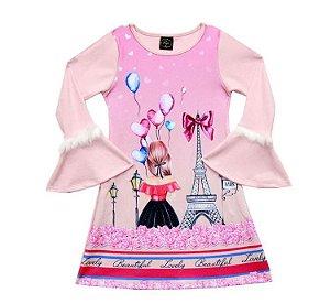 Vestido Paytê Infantil Menina Paris Rosa