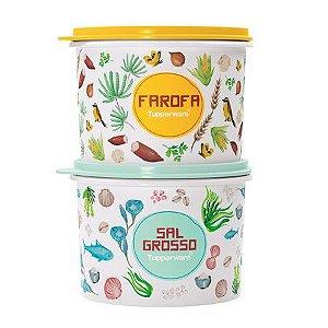 Tupperware Kit Caixa Farofa e Sal Grosso Floral