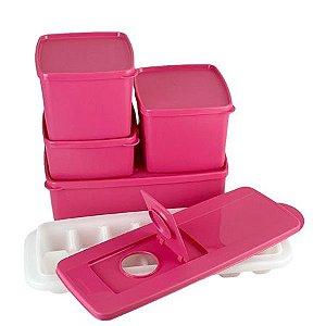 Tupperware Kit Freezer Rosa 5 Pecas
