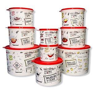 Tupperware Caixas Estampa Receitas 9 Pecas