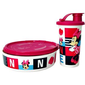 Tupperware Copo e Prato Minnie Rosa