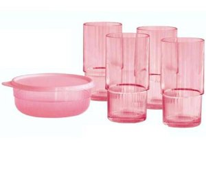 Tupperware Copo e Tigela Premier Candy Rosa
