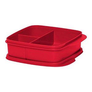 Tupperware Basic Line 550ml Com Divisórias Vermelha