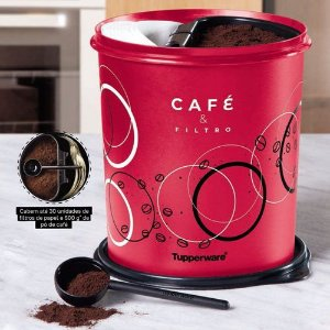 Tupperware Caixa Café e Filtro 3,7 Litros Círculos Vermelho