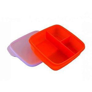 Tupperware Basic Line 550ml Com Divisórias Laranja Neon