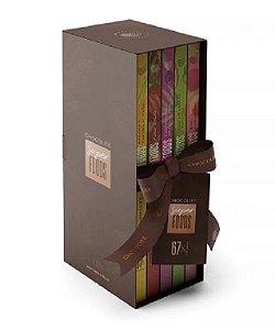 BOX BIBLIOTECA DE CHOCOLATE ZERO AÇÚCAR AMARGO EM TABLETE 67% CACAU SUPERFOODS 5 SABORES 400G