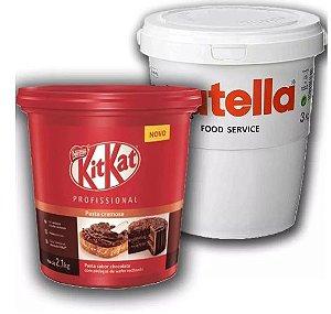 Kit Balde Nutella 3 Kg + Balde Kit Kat Pasta Cremosa 2,1kg