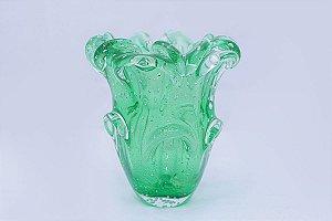 Vaso de Cristal Murano Verde com Pó de 0uro 24K