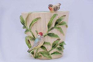 Cachepot com Aplicação Casal de Pássaros em Cerâmica